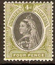 Southern Nigeria 1901 4d Black and sage-green. SG4.