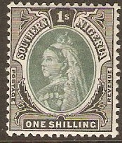 Southern Nigeria 1901 1s Green and black. SG6.