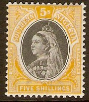 Southern Nigeria 1901 5s Black and orange-yellow. SG8.