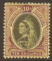 Southern Nigeria 1901 10s Black and purple on yellow. SG9.