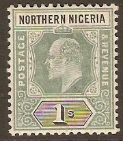 Northern Nigeria 1905 1s Green and black. SG26.