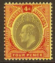 Southern Nigeria 1907 4d Black and red on yellow. SG38.