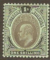 Southern Nigeria 1907 1s Black on green. SG40.