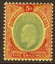 Southern Nigeria 1907 5s Green and red on yellow. SG42.
