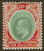 Southern Nigeria 1907 10s Green and red on green. SG43.