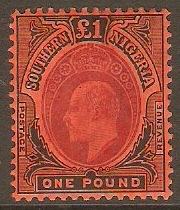 Southern Nigeria 1907 £1 Purple and black on red. SG44.
