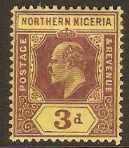 Northern Nigeria 1910 3d Purple on yellow. SG32.