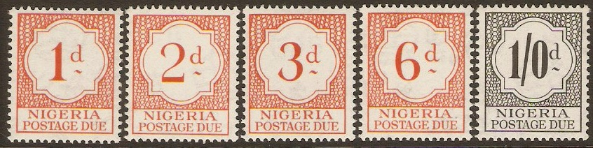 Nigeria 1959 Postage Due Stamps. SGD1-SGD5.