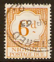 Nigeria 1961 6d Yellow Postage Due Stamp. SGD9.