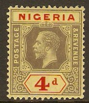 Nigeria 1914 4d. Black and Red on Yellow (White Back). SG6.