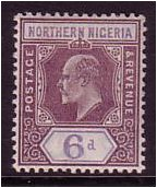 Northern Nigeria 1905 6d. Dull Purple and Violet. SG25.
