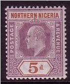 Northern Nigeria 1905 5d. Dull Purple and Chestnut. SG24a.