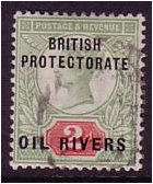 Oil Rivers 1892 2d. Grey-Green and Carmine. SG3.