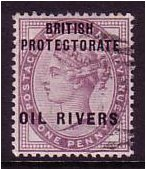 Oil Rivers 1892 1d. Lilac. SG2.
