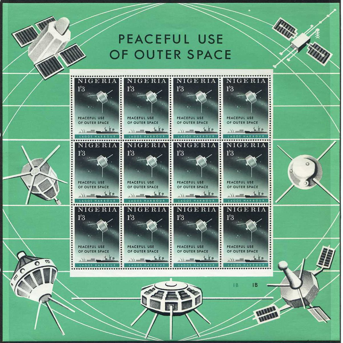 Nigeria stamps 1963 outer space stamp sheet sg132 for 3d map of outer space