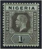 Nigeria 1914 1s. Black on Blue-Green Paper. SG8.