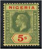 Nigeria 1914 5s. Green and Red on Yellow Paper. SG10.
