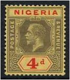 Nigeria 1914 4d. Black and Red on Yellow Paper. SG6.