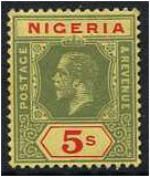 Nigeria 1914 5s. Green and Red on Yellow Paper. SG10a.