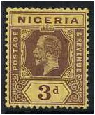 Nigeria 1914 3d. Purple on Deep Yellow Paper. SG5a.