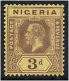 Nigeria 1914 3d. Purple on Yellow Paper. SG5a.