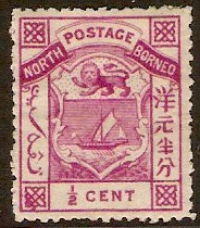 North Borneo 1886 half cent magenta. SG8.