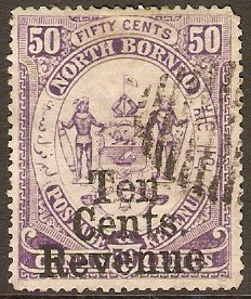 North Borneo 1886 10c on 50c Violet Fiscal Stamp. SGF3.
