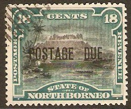 North Borneo 1895 18c Black and deep green Postage Due. SGD10b.