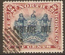 North Borneo 1895 24c Blue and rose-lake Postage Due. SGD11.