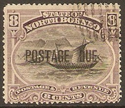North Borneo 1895 8c Black and dull purple Postage Due. SGD7.