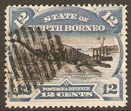 North Borneo 1895 12c Black and blue Postage Due. SGD8.