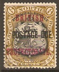North Borneo 1901 6c Black and bistre-brown. SG132a.