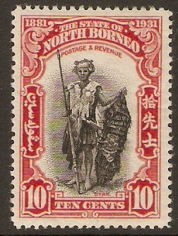 North Borneo 1931 10c Black and scarlet. SG297.