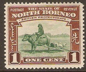 North Borneo 1939 1c. Green and Red-Brown. SG303.