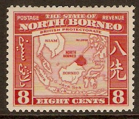 North Borneo 1939 8c Scarlet. SG308.