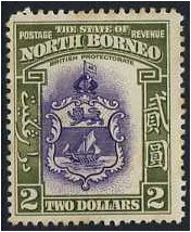 North Borneo 1939 $2. Violet and Olive-Green. SG316.