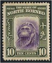 North Borneo 1939 10c. Violet and Bronze-Green. SG309.