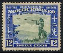 North Borneo 1939 12c Green and royal blue. SG310.