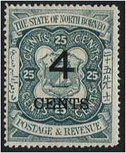 North Borneo 1899 4c. On 25c. Indigo. SG118.