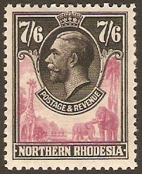 Northern Rhodesia 1925 7s.6d rose-purple and black. SG15.