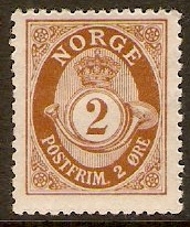 Norway 1909 2ore Brown. SG134.