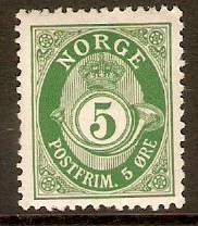 Norway 1909 5ore Green. SG136.