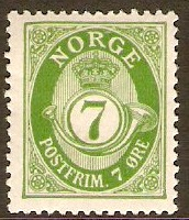 Norway 1909 7ore Green. SG138.
