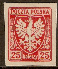 Poland 1919 25h Red Imperf. Series. SG57