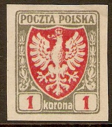 Poland 1919 1k Red and grey Imperf. Series. SG60.