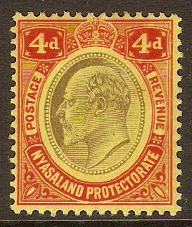 Nyasaland 1908 4d Black and red on yellow. SG76.