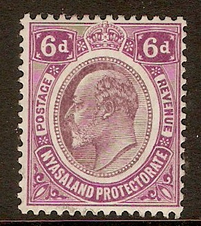 Nyasaland 1908 6d Dull purple and bright purple. SG77.