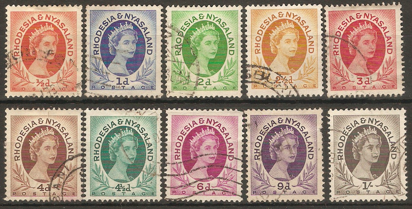Rhodesia & Nyasaland 1954 QEII Definitives sequence. SG1-SG9.