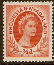 Rhodesia & Nyasaland 1954 ½d Orange-red. SG1.