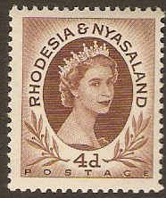 Rhodesia & Nyasaland 1954 4d Red-brown. SG5.